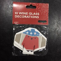 ROBIN CHRISTMAS Wine GLASS DECORATIONS XMAS Robin Table Cards 10 pack