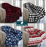 Holiday Christmas Theme Fleece Throw Blanket Sofa Couch Soft Winter Cabin Print