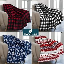 Holiday Christmas Theme Fleece Throw Blanket Sofa Couch Soft Winter Cabin Print
