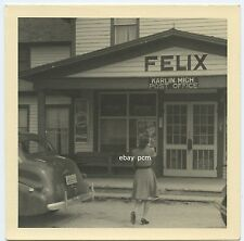 1940 Karlin MI Post Office - Coca Cola sign on porch  Woman Car American Culture