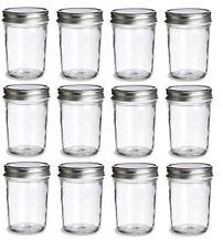 Nakpunar 12 pcs 8 oz Mason Glass Jars w/ Silver Plastisol Lined Lids