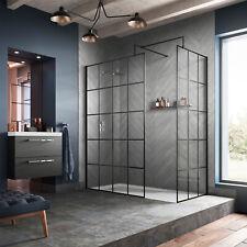 Black Framed Walk In Shower Wet Room Screens, 1950mm high x 8mm - By Hudson Reed