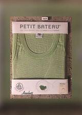 Petit Bateau Boys  Shirt ~Tank ~Debardeur~ GREEN/WHITE STRIPED  SZ 14A /SMALL ~