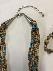 Jasper And Turquoise Necklace And Earrings Set #777