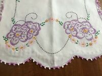 "Vtg Runner Dresser Scarf Excel Condition Embroider Crochet Linen 16"" x 38"" Pair"