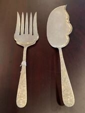 KIRK REPOUSSE STERLING SILVER (STERLING  MARKS )  FISH SERVERS 2 PIECE SET RARE
