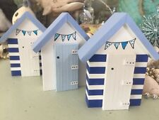 Skinny BLUE STRIPE BEACH HUTS Set Of 3 seaside NAUTICAL Decor Bathroom Wood