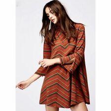 Free People New Romantics Adobe Striped Knit Zig Zag Tunic Mini Dress Boho XS