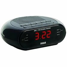 RCA RC205 BLK ALARM CLOCK RADIO WITH RED LED AND DUAL WAKE