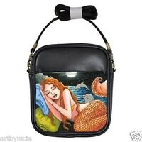 Small Sling Bag Purse from art painting Mermaid 42 dolphin by L.Dumas
