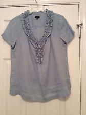 Womens Blue Ruffle Neck 100% Linen Blouse Shirt...Talbots Size 8