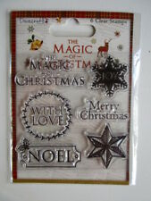 Dovecraft Clear Stamps - The Magic of Christmas - Noel  Merry  With Love  Joy