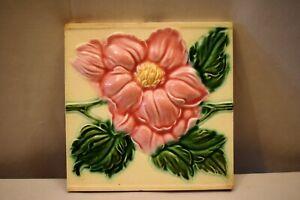 "Antique Tile Ceramic Art Nouveau Japan Saji Majolica Rose Embossed Architect""906"