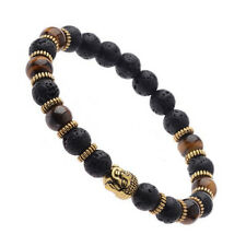 Elasticated lava bead tiger eye Buddha head bracelet with gold spacers