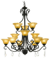 Wrought Iron Crystal Chandelier Entryway Country French
