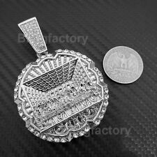 HIP HOP ICED OUT LAB DIAMOND WHITE GOLD PLATED LARGE LAST SUPPER PENDANT