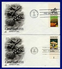 US 1827 & 1829 w/Plate/Zip Code Coral Reefs 2 First Day Covers ArtCraft FDC 1980