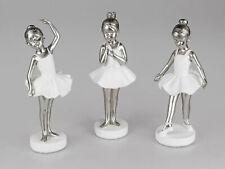 3er Set Dekofiguren Mini Ballerinas H. 23cm weiß silber Formano