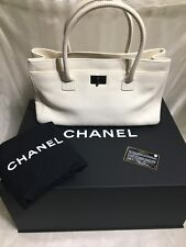 "Authentic Chanel 14"" Ivory Executive Cerf Leather Tote Silver Hardware"