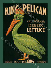 King Pelican Lettuce Metal Sign, Kitchen,  Home Accent,  Birds, Food, Salad