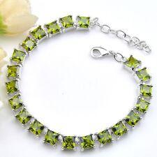 Bright Fire Sparking Square Peridot Zirconia Silver Chain Bracelets Bangles