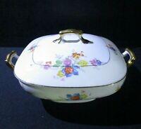 Antique Union K Covered Casserole Czech Porcelain, Square Shape Serving Dish