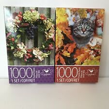 CARDINAL 1000 PIECE JIGSAW PUZZLE LOT OF 2 Autumn Cat & Spring Wreath