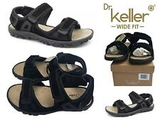 Dr Keller Men sOyster Adjustable Sport Leather Sandals Black Suede Size 7UK 40EU
