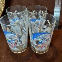 Walt Disney World 25th Anniversary McDonalds Glasses Mickey Mouse 1996 Lot of 4