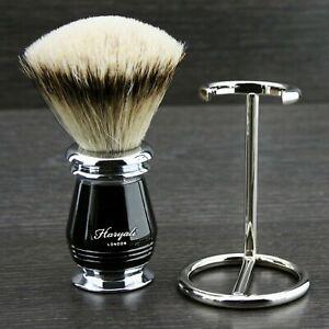 Silver Tip Hair Shaving Brush Badger Bristles Black Grooves Handle & Steel Stand