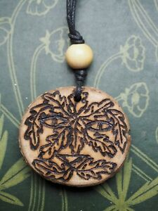 English Oak Wood Greenman Pendant - for Strength & Courage - Pagan, Witchcraft
