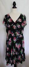 CITY CHIC ~ 1940's Inspired Black Day Dress w Spring Pink Roses & Full Skirt S