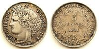 Francia-II Republica. 5 Francos 1851. PARIS. MBC+/VF+. Plata 24,8