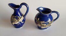 Vintage Minature Ornaments  Jug X 2 Blue Porcelain with Raised Dragons FREE POST