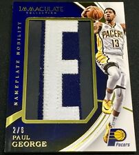 PAUL GEORGE 15-16 Panini Immaculate NAMEPLATE NOBILITY LETTER E PATCH #2/6 1/1 !