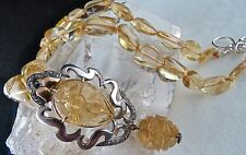 CITRINE CARVED DIAMOND 18K GOLD 925 SILVER VICTORIAN PENDANT LONG BEADS NECKLACE