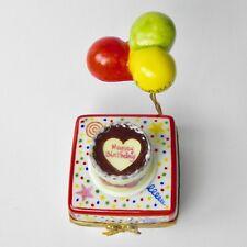 Rochard Porcelain Hinged Limoges Trinket Box Happy Birthday Cake Balloons