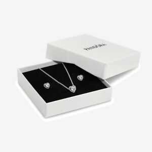 Pandora Sterling Silver Elevated Hearts Necklace & Earrings Box Set