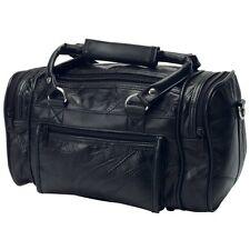 Genuine Black Leather Mens Toiletry Bag Shaving Kit Overnight Travel Duffel New