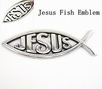 1 Pcs Silver 3D Jesus Fish Ichthy Badge Logo Car SUV Tank Cover Sticker For Ford