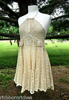 NEW Free People Halter Dress FP X Convertible Ivory Crochet Lace no slip S