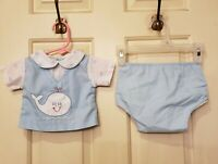 Tiny Tots Original Baby Boys Whale Shirt & Bloomer Pants Set Size 3-6 Months
