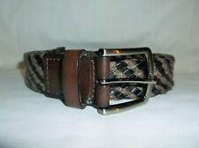TOMMY BAHAMA  ~ MENS BLACK LEATHER & WOVEN BELT ~ 36