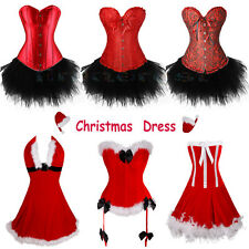Sexy Miss Santa Corset Bustier Xmas Outfit Womens Christmas Fancy Dress Size8-16