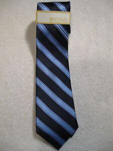 "Michael Kors 100% Silk Tie NWT 3"" Wide Blue Striped"