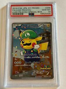 Pokemon Card Luigi Pikachu 296/XY-P FA Special Box Promo 2016 PSA 10 GEM MINT