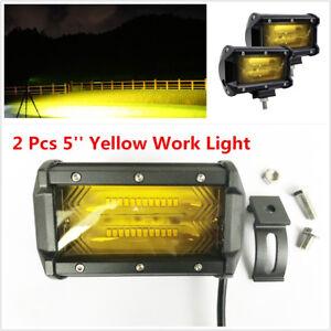 2pcs 5'' 12/24V Yellow LED High Power Spot Beam Car Truck Working Light Fog Lamp