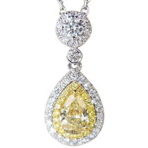 Fashion Luxury AAA CZ Yellow Zircon Teadrop pendant necklace Women jewelry 45cm