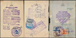 LEBANON, LOT OF 6 DIFF. CONSULAR REVENUES ON PASSPORT PAGES. #Z49
