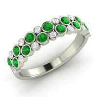 0.91 Ct Natural Diamond Emerald Eternity Band 14K White Gold Ring Size M N O K L